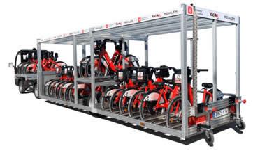 Semiremolque para transportar y posicionar bicis comodamente PORTABICIS