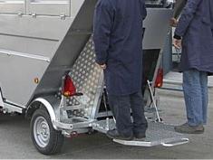 Semiremolque satélite abierto intercambiable, para la recogida puerta a puerta o centros urbanos de difícil acceso URBACLIC S39