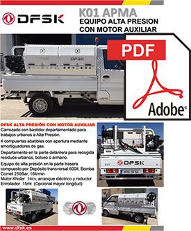 Vehículos para trabajos de mantenimiento carrozados Serie K01H APMA Equipo de alta presión con motor auxiliar